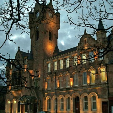 The Rutherglen Town Hall at dusk