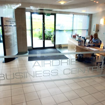 Airdrie Business Centre door sign
